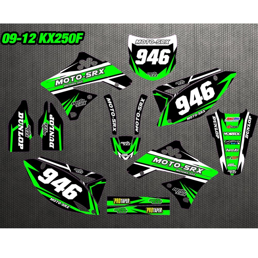 GRAPHICS BACKGROUNDS DECALS STICKERS Kits for Kawasaki KX250F KXF250 2009 2010 2011 2012 KX450F KXF450 09