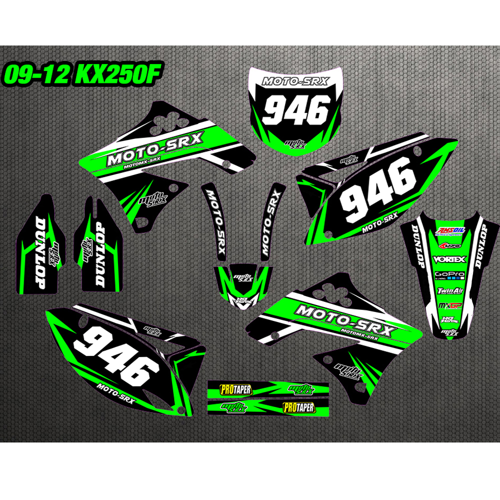 GRAPHICS & BACKGROUNDS DECALS STICKERS Kits For Kawasaki KX250F KXF250 2009 2010 2011 2012 KX450F KXF450 09-12