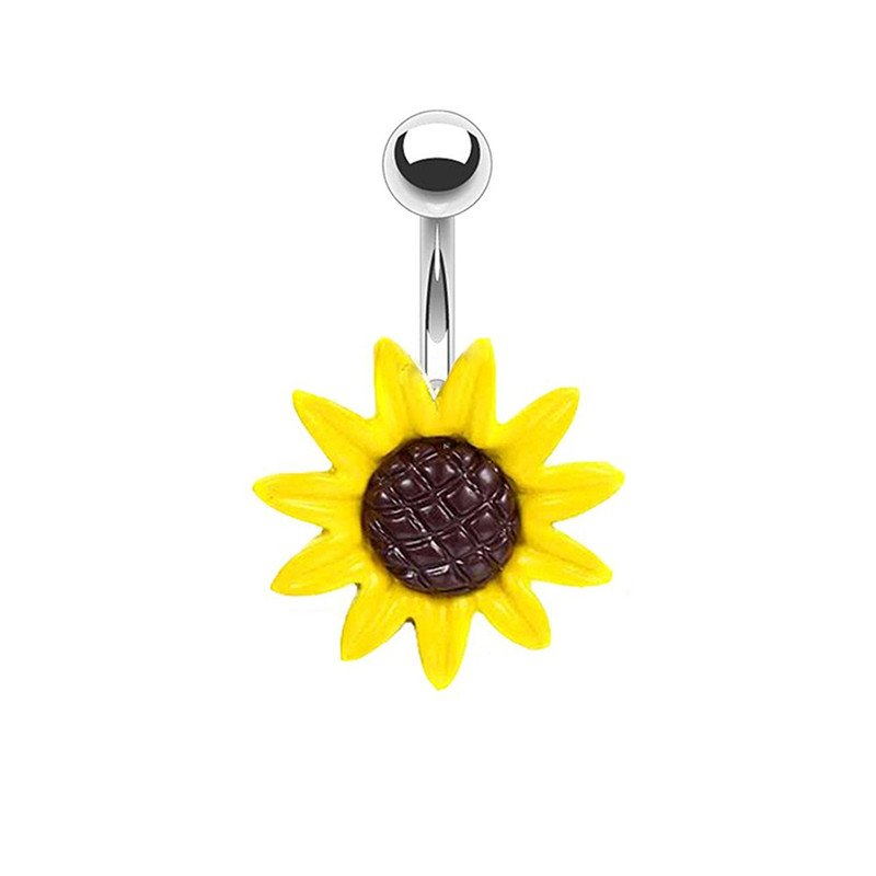 1pc Sexy Dangling Navel Sunflower Belly Button Rings Belly Piercing Crystal Surgical Steel Woman Body Jewelry Barbell