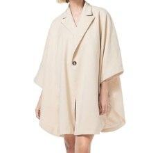 2017 Winter Fashion Street Style Single Button Cloak Cape Women Batwing Sleeve Coat Solid Casual Cloke(China)