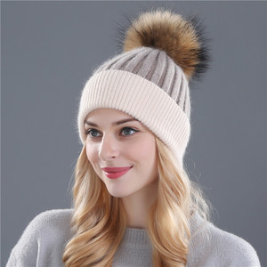 Image 2 - Xthree zimowa wełniana czapka z dzianiny czapka prawdziwa norka futro pompony czapka z czaszkami dla kobiet dziewczynki kapelusz feminino