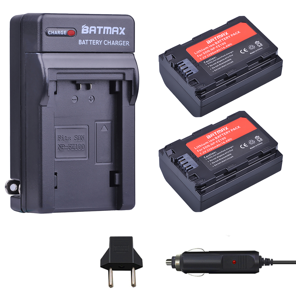 2 uds. Batería de NP-FZ100 de 2280mAh NP FZ100 NPFZ100 + Kits de cargador para Sony NP-FZ100, BC-QZ1, A7III, A7RIII, ILCE-7RM3, A9, A9R,9 s