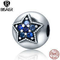 BISAER 925 Sterling Silver Star Wish Dazzling Crystal Clip Stopper Beads fit Original PAN Charm Bracelets Jewelry GYC142