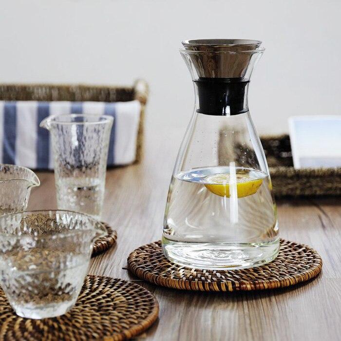 Простой Zakka Стиль бутылка для сока чайник Термостойкое взрывозащищенное стекло высокого качества чайник ручной работы выдувное 1000 мл