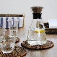 Simple Zakka Style Water Bottle Juice Kettle Heat resistant Explosion proof Glass High Quality Teapots Handmade Blown 1000ML