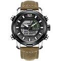 MEGIR мужские часы люксовый бренд мужские кожаные спортивные часы мужские кварцевые светодиодные цифровые часы водонепроницаемые военные на...