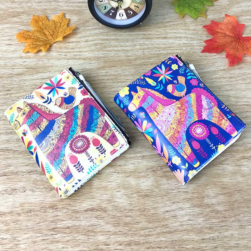 DICIHAYA 2019 Hot! New Vintage Mulheres Pequenas Carteiras Animal Print Carteira Design Com Zíper Duplo Com Coin Purse Pockets Mini Carteira