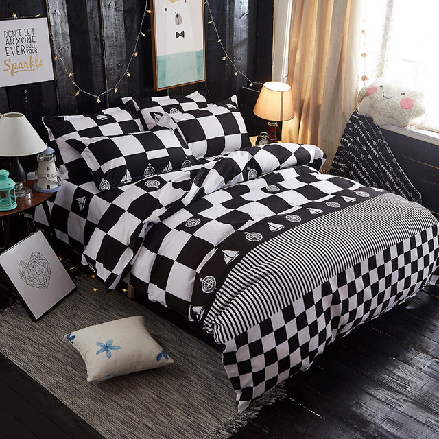 Черный и белый блок Постельные принадлежности Набор пододеяльников для пуховых одеял Наборы для ухода за кожей Queen Размеры, 1 Стёганое одеяло крышка комплект + 1 кровать Простыни Детские + 2 наволочки, промывают хлопок покрывало