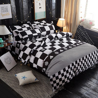 Black And White Block Bedding Duvet Cover Sets Queen Size 1 Quilt Cover Set 1 Bed