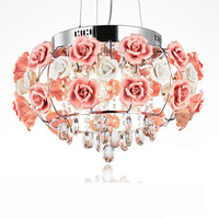 Free Shipping Crystal Hanging LED Pendant Light Ceramic Flowers Living Room Pendant Lamp Dining Room Pendant Light