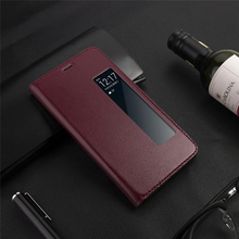 luxury Genuine Leather Case For Huawei P20 Pro flip cover P20 with intelligent Window phone bag for Huawei Mate 10 Pro Case for huawei p20 pro magnetic smart genuine leather flip case 3d crocodile texture luxury business cover for huawei p20 pro case