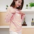 Maternity Clothes Nursing Pajamas T-shirt Nursing Tops Breastfeeding Cotton Long-sleeve Tees Feeding Nightwear 3Color Stripe