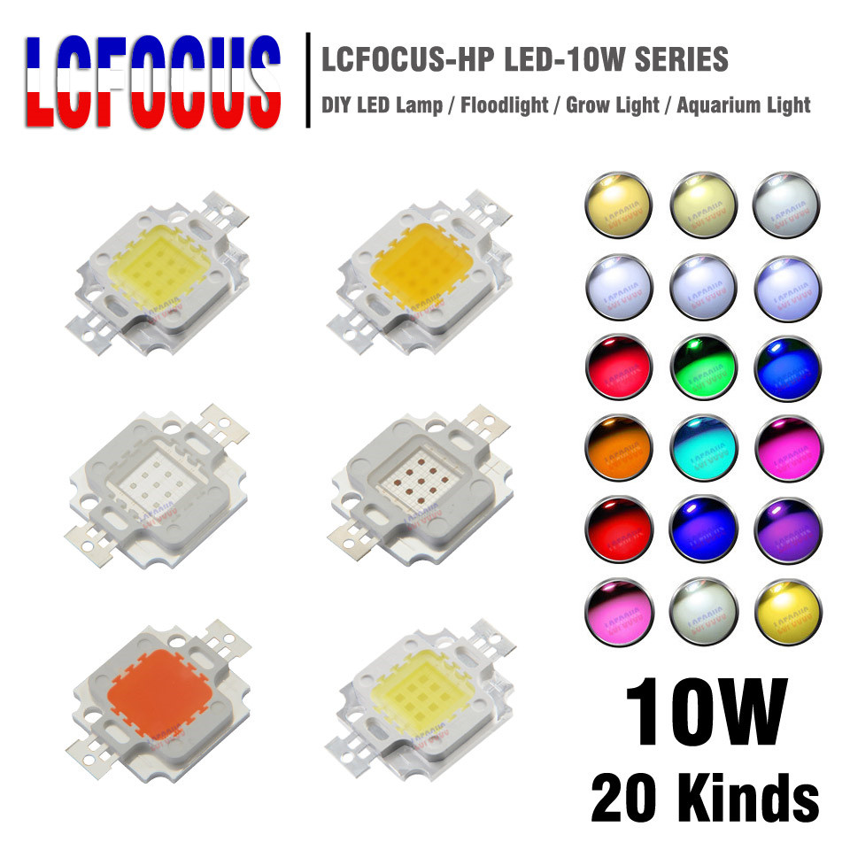 1Pcs High Power LED Chip 10W Natural Cool Warm White Yellow RGB Red Green Blue Purple Full Spectrum For 10 Watt Light Beads