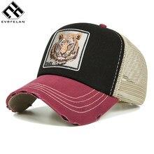 Evrfelan de verano transpirable de malla gorra de béisbol de las mujeres y  los hombres del Snapback sombrero de camionero Tigre . 193b2e2b013