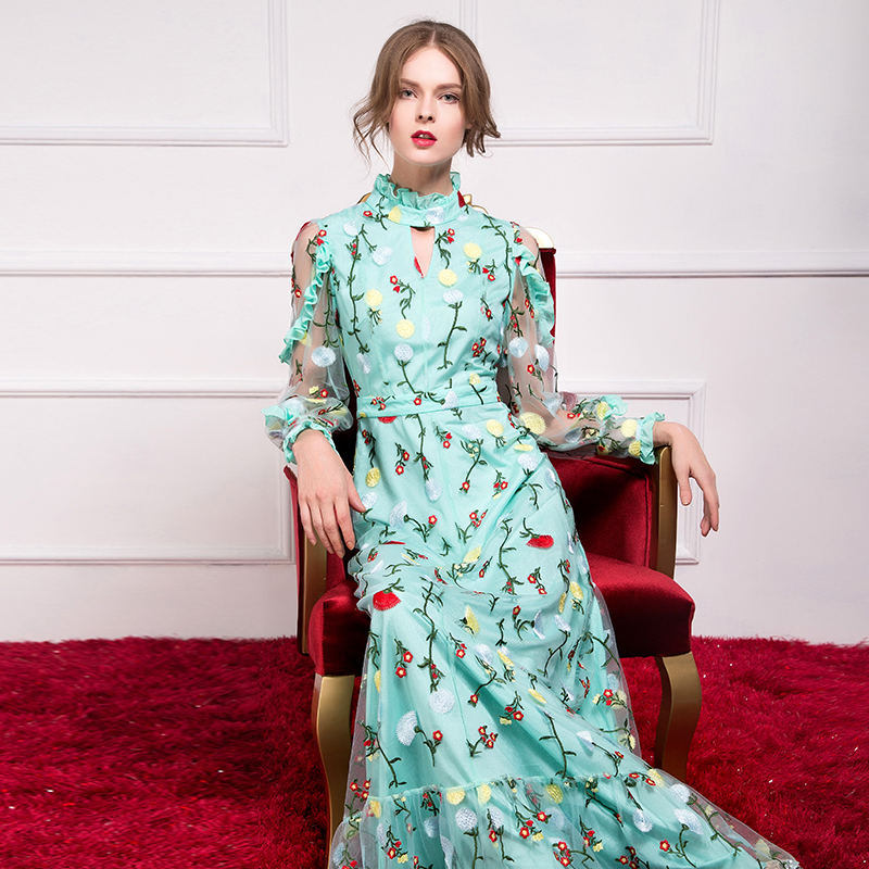 2017 Autumn Designer Brand Women Fashion Vintage Embroidery Lace Pleated Voile Long Sleeve Floor-Length Maxi Dress V306