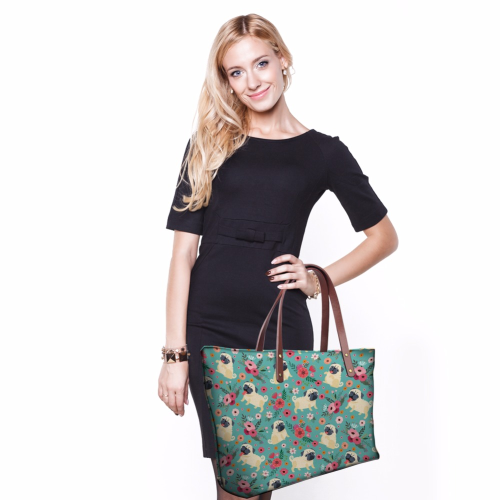 433a6aaf95f7 THIKIN Women Shopper Bag Canada Designer Bags Pug Pattern Handbags for Women  Casual Tote Famous Brands Girls Big Beach Bags -in Shoulder Bags from  Luggage ...