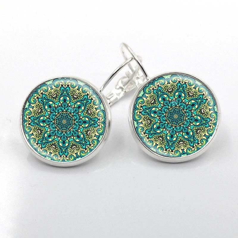 1 Paar Charme Mandala Ohrringe 16 Mm Glas Auf Ohrring Silber überzogene Om Symbol Buddhismus Zen Henna Yoga Ohrring Schmuck Für Frauen