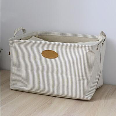 Zakka Style Navy Cotton And Linen Underwear Storage Box Stripe Organizer  Basket Clothing Folding Storage Boxes