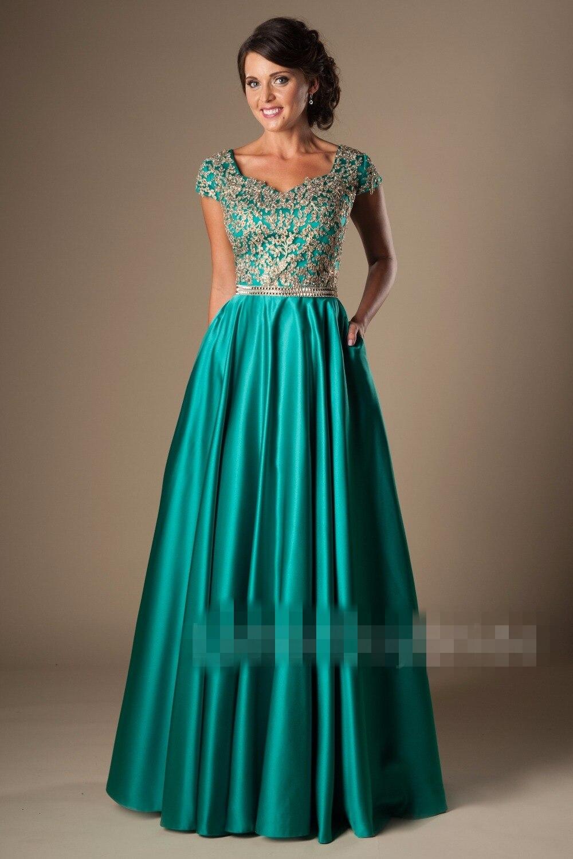 2019 Turquoise or longue a-ligne modeste robes de bal avec manches courtes perlée dentelle Satin longueur de plancher robes de soirée modeste
