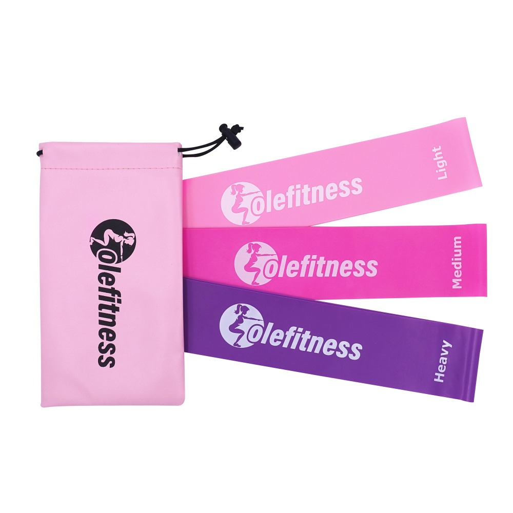 Olefitness Resistance Loop Bands Pink Set of 3 with Carrying Bag Elastic Bands Women Exercise Equipment for Home and Gym Workout