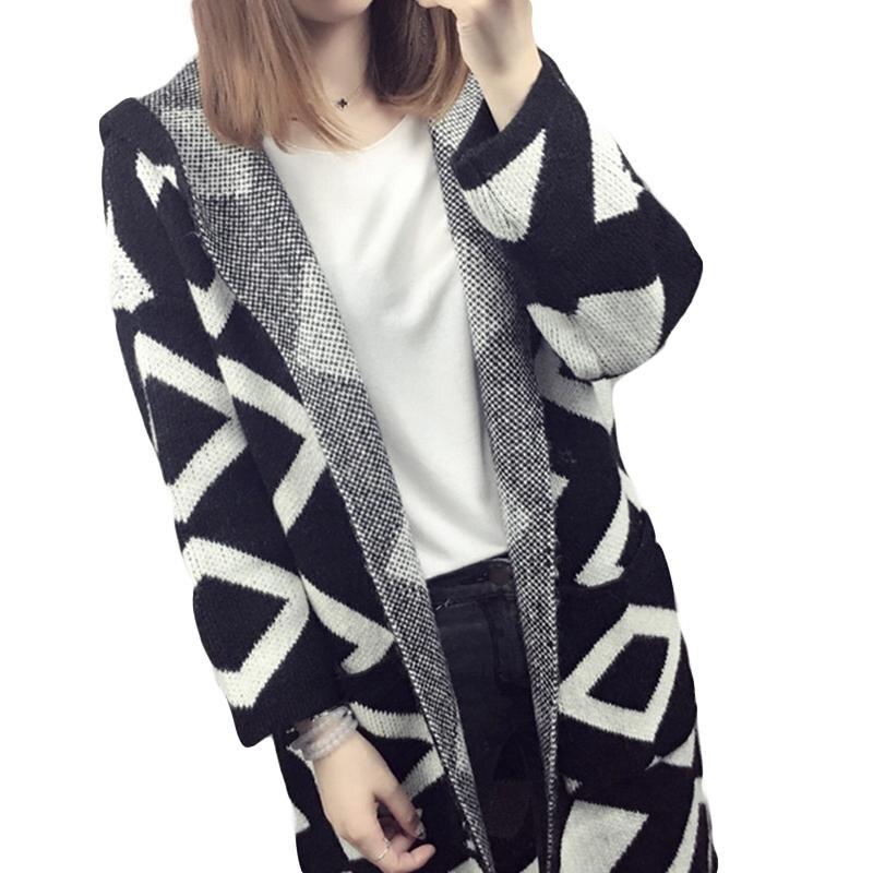 2018 moda Otoño Invierno Cardigan mujer Rhombus patrón con una ...
