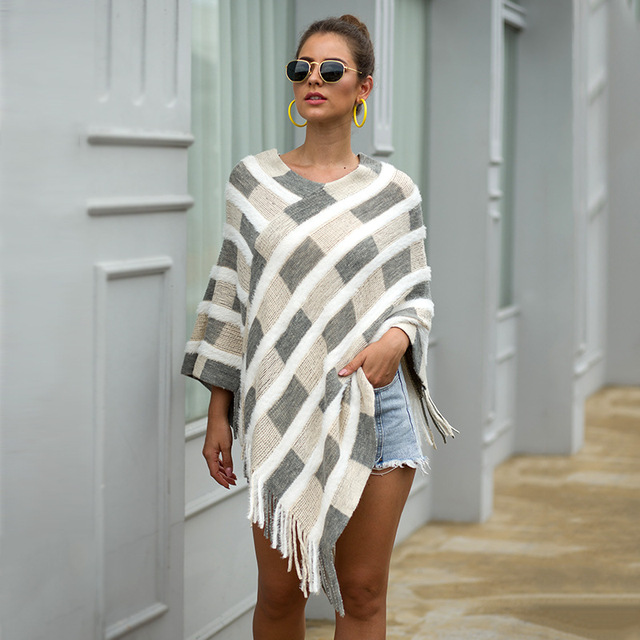 HEE GRAND Women Plaid Sweaters Autumn 2019 New Tassels Cloaks Sexy V-neck Pullovers High Street Capes Drop Shipping WZL1505 4