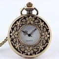 1 PC Retro Bronze Steampunk quartzo relógio de bolso colar pingente mulheres homens presente P201
