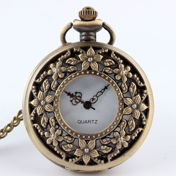1 PC Vintage Retro Bronze Steampunk Quartz Pocket Watch Necklace Pendant Women Men Gift P201