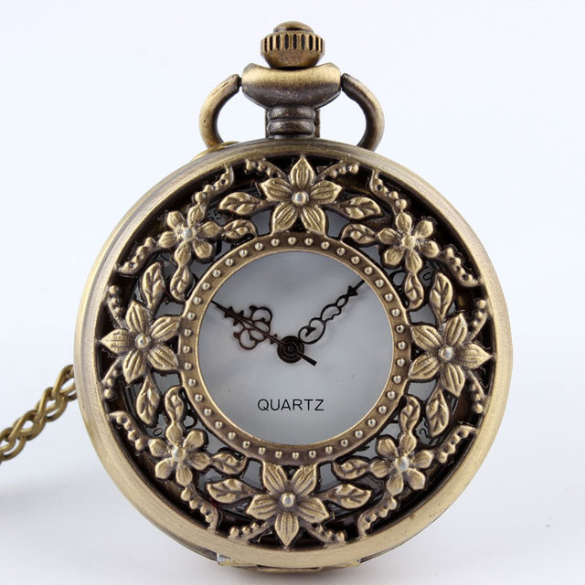 1 PC Vintage Retro Bronze Steampunk Quartz Pocket Watch Necklace Pendant Women M