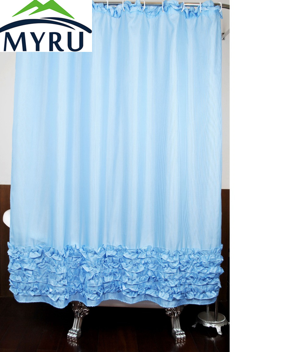 Blue ruffled shower curtains - Myru Polyester Stripped Shower Curtain Ruffled Curtains For Bathroom 180x180 Cm China Mainland