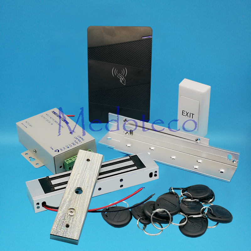 Full No Keypad 125khz Rfid Card Door Access Control System Kit EM ID Card Access Controller +350lbs Magnetic Lock +ZL Bracket full 125khz rfid card door access control system kit em card access controller 350lbs magnetic lock u bracket for glass door