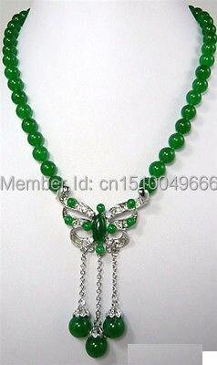 Su471 BATEAU LIBRE>>> Vert PIERRE Perles Cristal Papillon Pendentif Collier