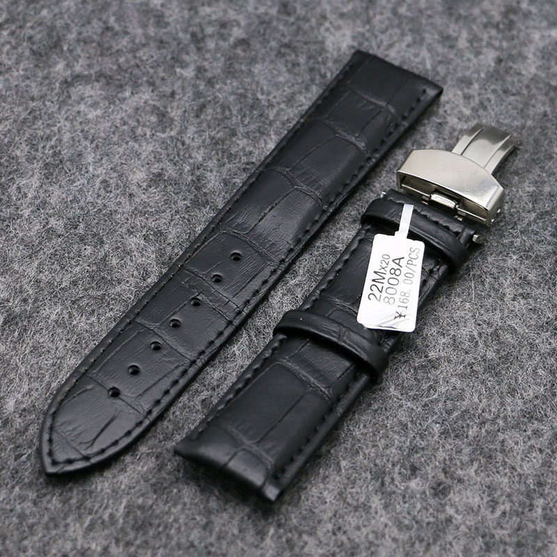 18/20/22mm Genuine Leather Wrist Watch Band Women Men Watches Replacement Wristwatch Strap   Black/Brown PD0132-3 canvas blue fashion watch band strap 20 22mm wrist watches replacement bands for men boy male bd0134