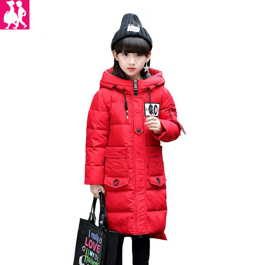 fashion long parka Kids Long Parkas For Girls Fur Hooded Coat Winter Warm Down Jacket Children Outerwear Infants Thick Overcoat x long cotton padded jacket female faux fur hooded thick parka warm winter jacket women solid color wadded coat outerwear tt763