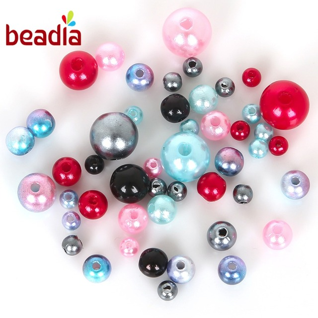 Approx 350pcs Round AAA+ Mixed Size 4-10mm Beads ABS Pearls Loose Beads For Handcarft Bracelet Making For Jewelry Handmade DIY