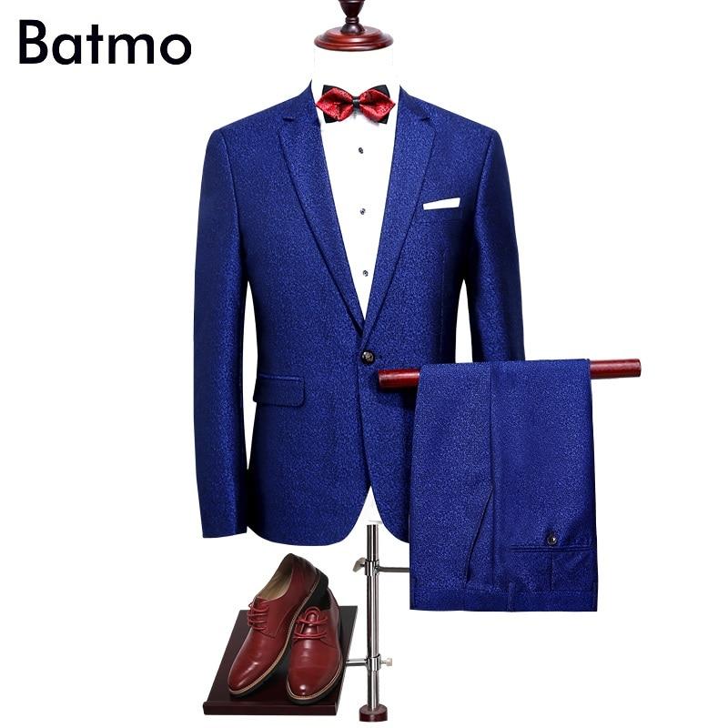 Batmo 2017 new arrival high quality blue wedding suits men ,casual suit me size M,L,XL,XXL,XXXL,4XL женское платье brand new 2015 vestidos 5xl s m l xl xxl xxxl 4xl 5xl