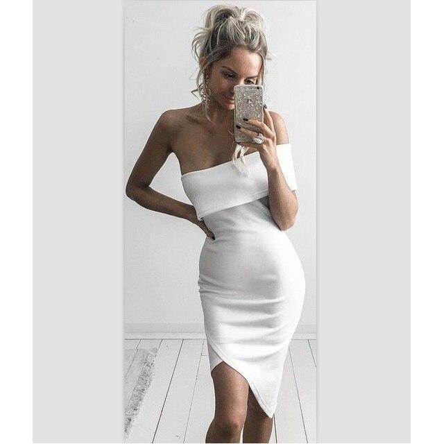 new styles 3268f 95a08 US $31.5 10% di SCONTO|Donne Sexy Abito Bianco Nero Blush 3 Colore Senza  Spalline Knee lunghezza Drappeggiato del Vestito Dalla Fasciatura Sexy Del  ...