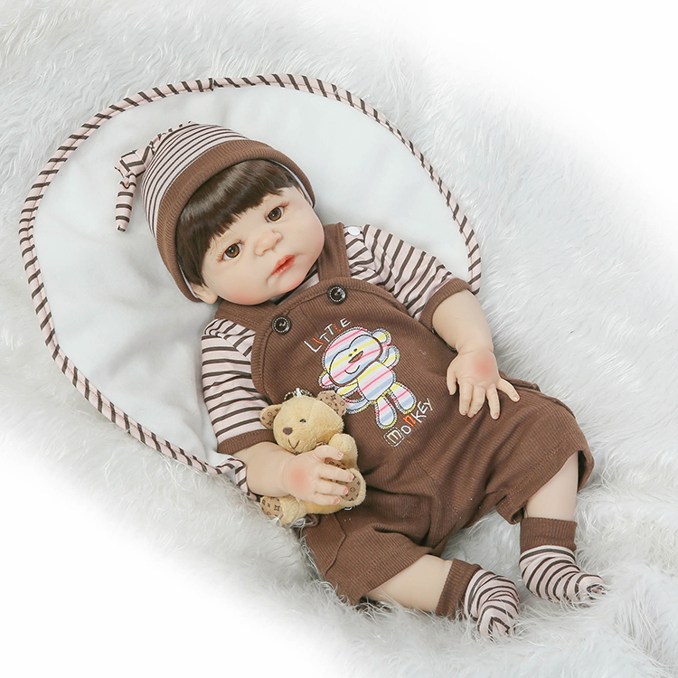 23 full body silicone reborn baby boy dolls brown hair wig magnetic mouth fashion dolls for kids gift bebe alive bonecas reborn 15g brown and blonde 100% pure natural fashion mohair doll hair 6 inches for reborn baby dolls angora goat wig accessories