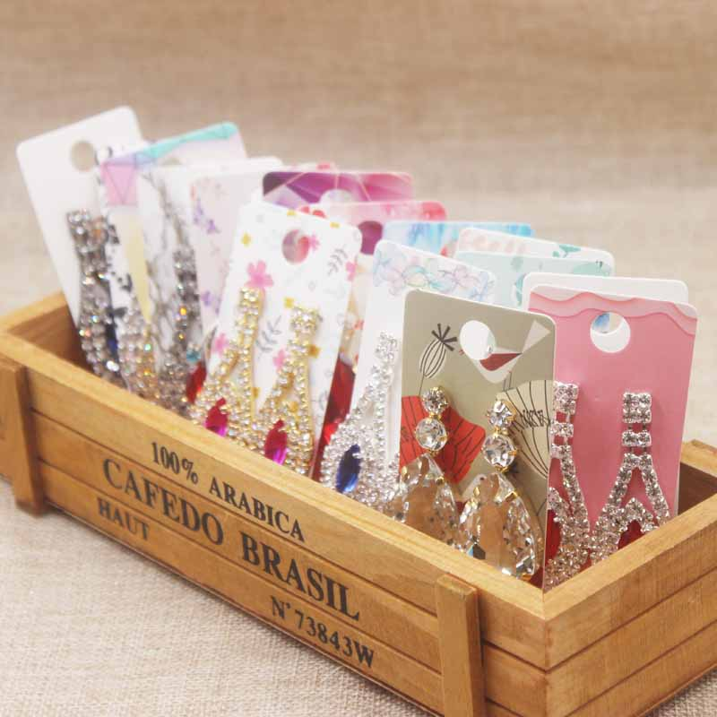 100pc/lot Multi Style Jewerly Earring Card Flower /marbel/DIY Thank You Jewelry Drop Earring Tag Dangling Earring Package Tag