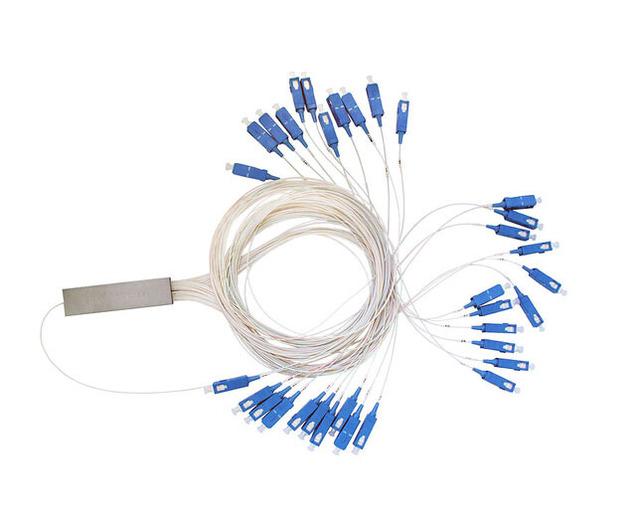 Scupc 1 X 32 PLC de fibra monomodo divisor óptico FTTH PLC tubo de acero tipo SC 1 X 32 PLC divisor de fibra óptica FBT acoplador óptico