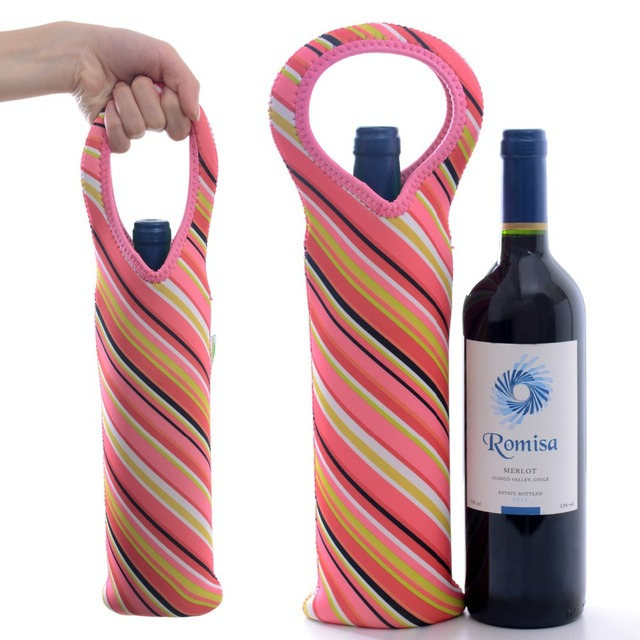 Red Striped Wine Bottle Bag Cooler Well Insulated Tote Camping Outdoor Carrier