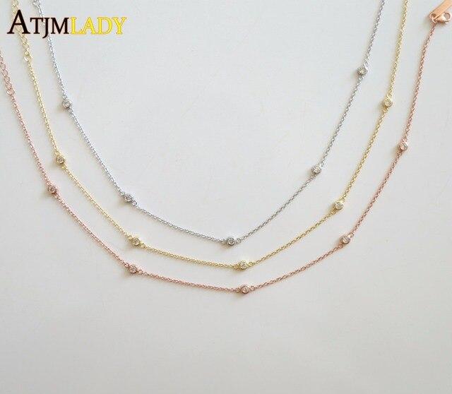9cd16d322e421 US $8.36 7% OFF|2018 Sale Moana Kolye 100% 925 Sterling 33+7cm Extend Cz  Station Statement Women Ladies 3 Color Dainty Chain Choker Necklace -in ...