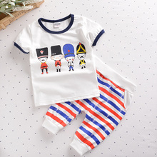 New Youngsters's Clothes Summer time Units Print Cartoon T-shirt +Striped pants Sports activities Swimsuit Model Youngsters Units Cotton Match 6M-4Years