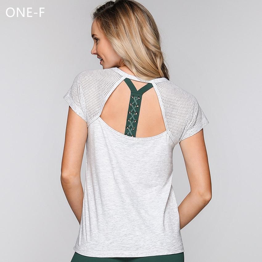 ONF-F mesh women yoga shirts breathable quck dry yoga tops fitness gym short sleeve sport shirts ladies sportswear rival