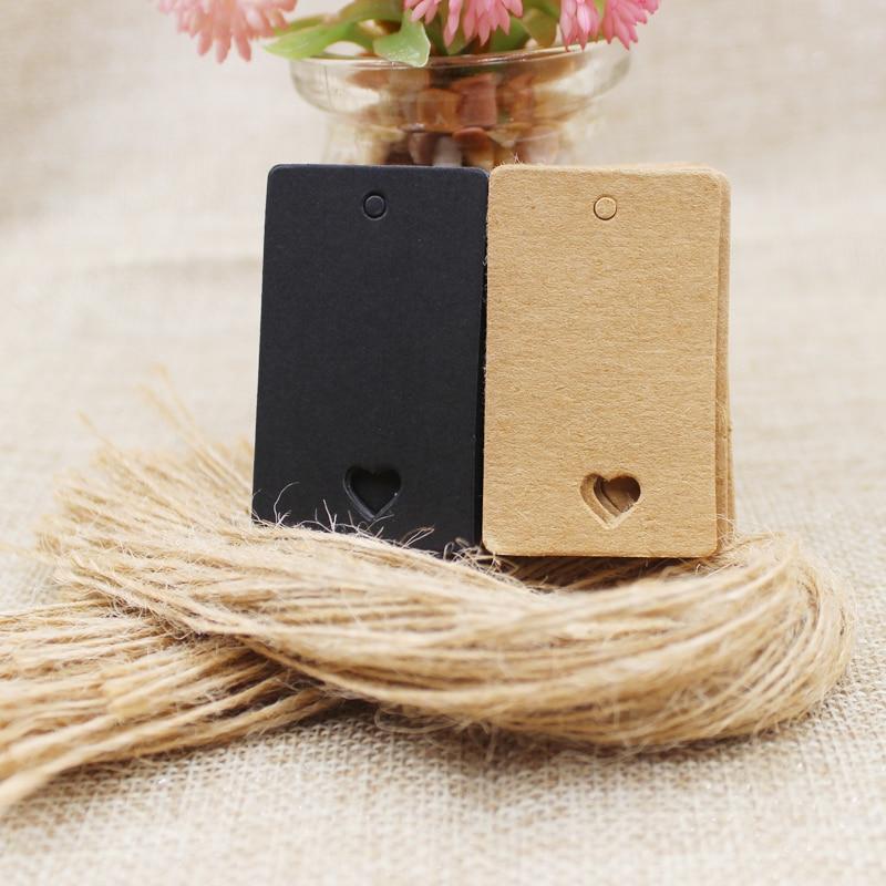 5*3cm Retangular Black /Kraft Paper Blank Card Hand Draw Gift Label Tags Heart Hollow 100pcs+100 Hemp String  Per Lot