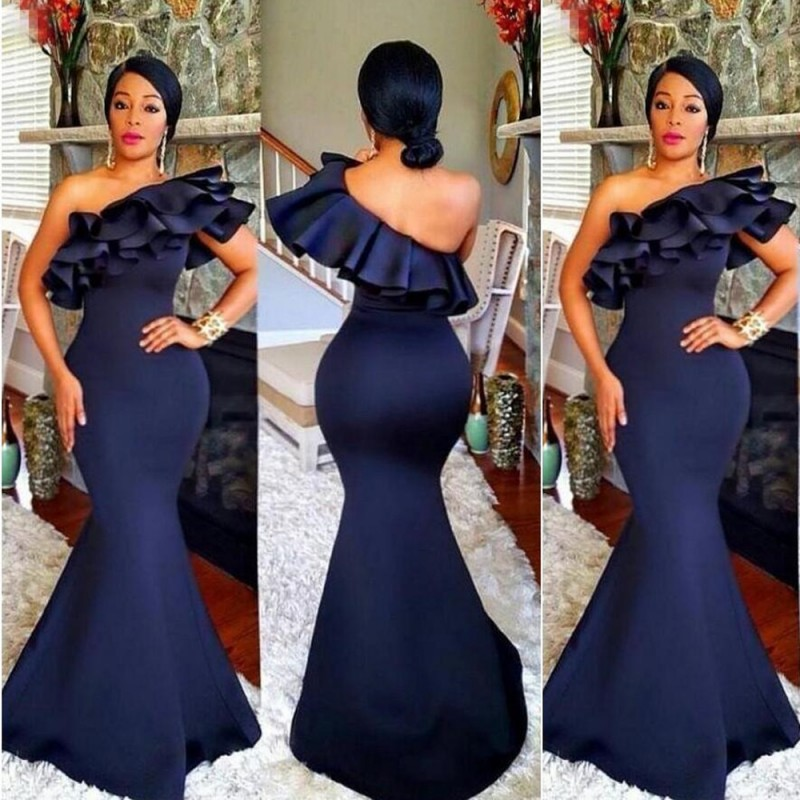 Arabic Navy Blue Mermaid   Evening     Dresses   2019 One Shoulder Cascading Ruffles Long Formal Party Gowns Cheap robe de soiree