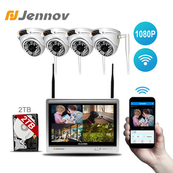 Jennov Video Surveillance 4CH 1080P CCTV NVR Wifi Wireless Security Camera System Outdoor Waterproof IP 66 12 Inch LCD Monitor