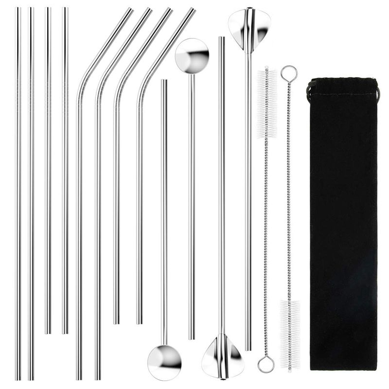 Stainless Steel Straws Metal Drinking Straw, Includes 4 Straight & 4 Bent Drinking Straws, 2 Smoothie Straw and 2 Stirrer Spoo