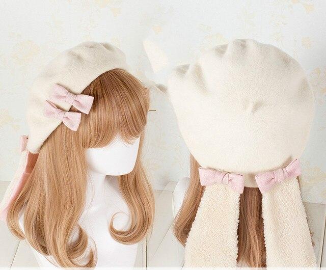 694a1fbe93d96 Princess sweet lolita beret Lolita drooping cute rabbit Japanese pancake Wool  Beret bud cap artist hat