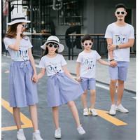 Family Matching Outfits Summer T Shirt Short Sleeve Stripes Shorts Dress Wholesale Mother Father Daughter Son suit Family Look